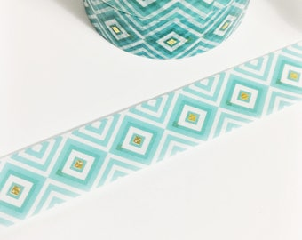 SALE Teal and Mint Green Diamonds with Tiny Gold Foil Diamond Washi Tape 11 yards 10 meters 15mm