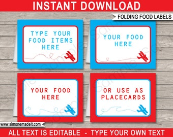 Airplane Food Labels - Buffet Tags - Tent Cards - Party Decorations - INSTANT DOWNLOAD with EDITABLE text - you personalize at home