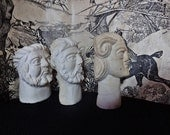 Vintage Stone Bust, 3 Vintage Alabaster Stone Gods, Roman Figures, Stone Carved Paperweight, Vintage Carvings