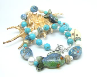 Handmade Lampwork and Pearl Fish/ Sea theme necklace. SRA