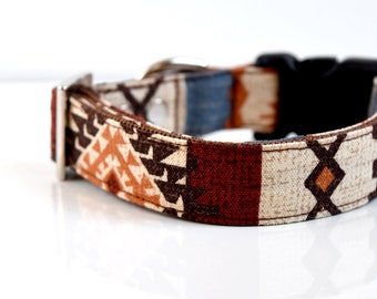 Southwestern Dog Collar - Brown, blue, orange