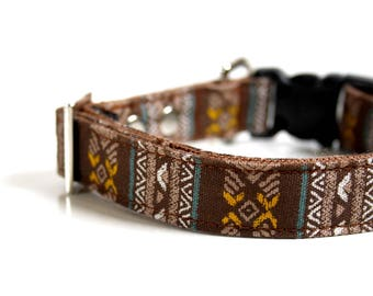 Bohemian BOHO Dog Collar - turquoise blue, mustard, brown