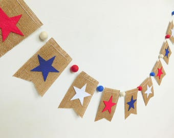 Red White and Blue Stars Patriotic Burlap Banner with Felt Balls