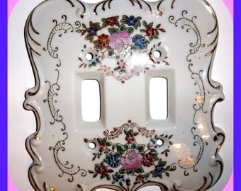 Vintage Porcelain Double Switch Plate Cover Cottage Chic Switchplate Wall Plate White Roses
