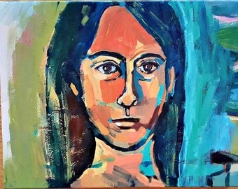 "Original Painting, Self Portrait, Acrylic on Canvas, Art, 11"" x 14"" x 1-1/2"", Woman"