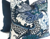 Decorative Pillow Cover, Schumacher China Blue Chiang Mai Dragon Pillow Cover Made to order to your size specification
