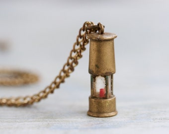 Miners Lantern Necklace - Antique Brass Pendant on Chain