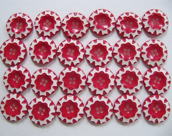 Vintage 1930's buttons 18mm, 24 Art Deco casein buttons 11/16th inch, galalith red & white quality German plastic button, peppermint buttons