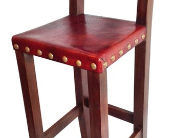 Wood leather barstool  with backs and foot rests