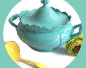 Reserved for Wendy Victorian Silver plated covered serving dish Turquoise, Upcycled and Re-surfaced by BMC Vintage Design Studio FOOD SAFE