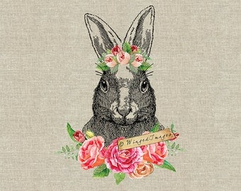 Floral Rabbit. Instant Download Digital Image No.400 Iron-On Transfer to Fabric (burlap, linen) Paper Prints (cards, tags)