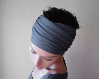 SLATE GREY Head Scarf - Medium Gray Hair Wrap - Bohemian Jersey Hair Accessory - Extra Wide Jersey Head Scarves - Yoga Headband