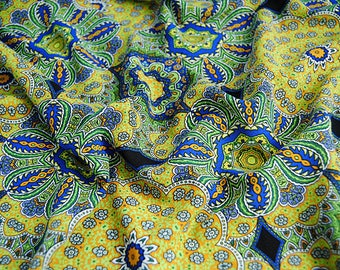 new arrival vintage bohemia  floral green yellow blue  chiffon fabric by yard dress