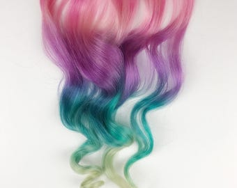 Unicorn Hair extensions, clip in pastel hair extensions, full set unicorn mermaid hair, pink hair clips, human hair,