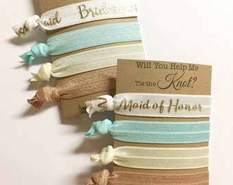 Will You Be My Bridesmaid, Will You Help Me Tie The Knot, Neutral Wedding, Bridesmaid Hair Ties, Bridesmaid Gift, Natural Wedding Favors