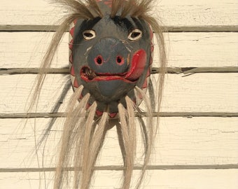 Vintage Yaqui Indian Pascola Wild Boar Mexican Dance Mask
