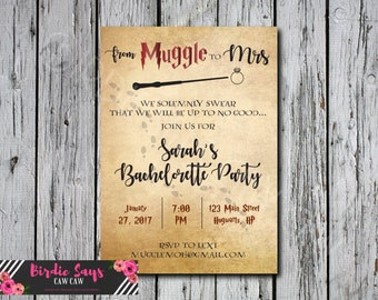 SALE!! Custom DIY Harry Potter Bachelorette Party Invitation Muggle to Mrs Bridal Shower Baby Shower Wedding Invitation DIY Print at home