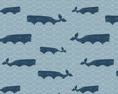 LAMINATED cotton fabric by the yard (similar to oilcloth) - Whales of the ocean sea - EXCLUSIVE - Approved for children's products