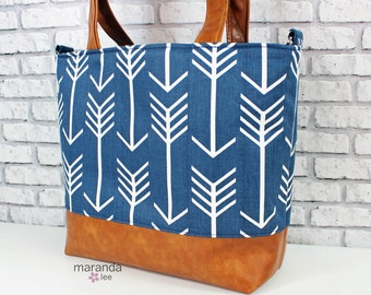 Lulu Large Tote Diaper Bag  Purse  - Navy Arrows and PU Leather  Zipper Closure  6 pockets