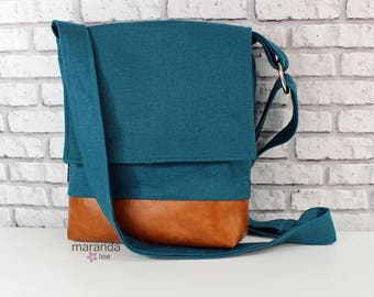 Nori Medium Flap Messenger Slouch Bag with Adjustable Cross Body Bag - Teal Linen - iPad Bag  READY to SHIP