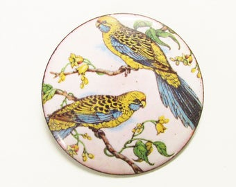 Vintage Enamel on Copper Yellow Blue Budgie Parakeet Bird Brooch 1970s Hand Crafted