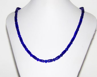 Blue Necklace, Glass Necklace, Beaded Necklace, Necklace With Beads, Simple Necklace, Women's Necklace, Mens Necklace,