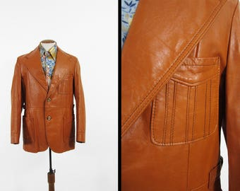 Vintage 70s Belted Leather Jacket Retro Long Coat Brown Wide Lapel Made in USA - Size 42