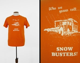 Vintage 80s Snow Busters T-shirt Winter Plow Soft and Thin Orange Tee - Medium