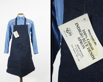 Vintage NOS Denim Apron Indigo Blue Shop Bib Made in USA Brooklyn NY