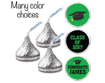 """We Print - Personalized Graduation Labels for HERSHEY'S KISSES. Round 3/4"""" Kiss stickers."""