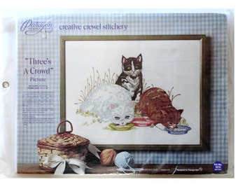 Paragon Crewel Embroidery Kit Three's A Crowd Vintage Kit No. 0216 Georgia Ball Cat Crewel Picture