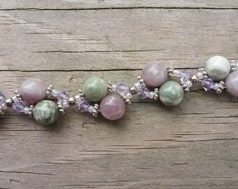 Peace Jade and Lilac Stone 8 inch Bracelet