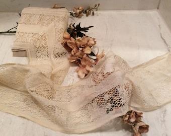 Vintage Wide Handmade Light Ecru Cotton Insert Lace Trim, Antique Lace, Ecru Lace Edging, Wedding Lace, Country Lace
