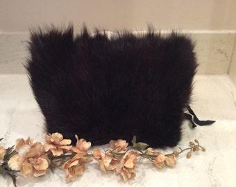 Vintage Dark Brown Fur Muff, Vintage Fur Handwarmer, Vintage Repurpose Fur, Thirties Muff, 1930's Muff