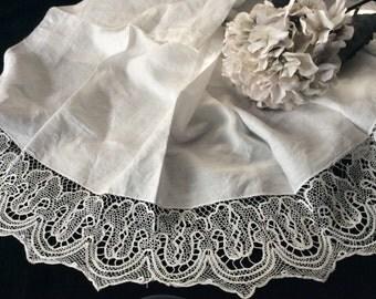 Victorian Fine  Linen and Delicate Tape Lace Piece Great to Re-Purpose, Vintage Textiles, Vintage Lace, Vintage Fabric