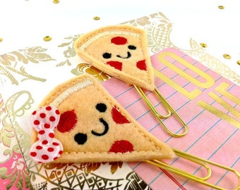 Pizza Face Planner Paper Clip | Smiley Pizza Bookmark Set - Magnets Paper Clip | Fun Pizza Gifts, Bookmark Book Marker | Novelty Paper Clips