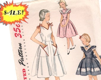 PATTERN SALE Vintage 1951 Girl's Sundress Party Dress pattern. Size 7 Sewing collectible. 1950s Simplicity sewing pattern Sun dress pattern