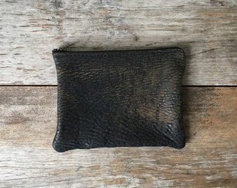 Leather Pouch - Repurposed Leather with Zipper