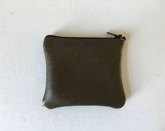 Small Zippered Coin Pouch - Repurposed Leather