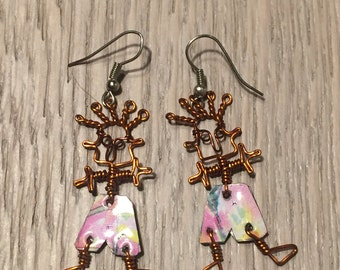 Hand-made Copper Wire Figure Earrings