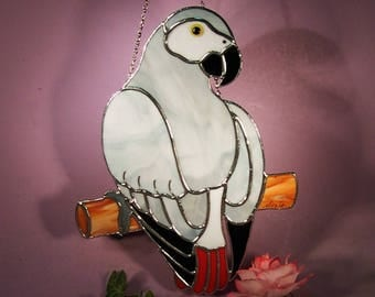 Stained Glass Suncatcher African Grey Parrot  (801)