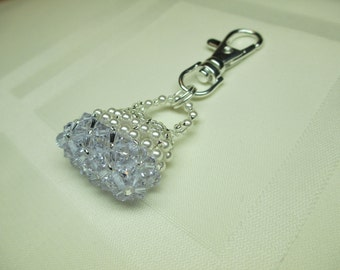 Purse Charm or Zipper Pull in Lilac Crystal