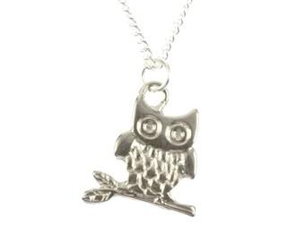 Owl Necklace Miniblings 45cm owl Necklace Eulen Vogel Bird owl silver
