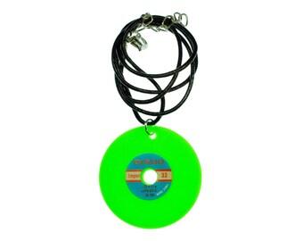 Record Necklace Miniblings leather 45cm DJ LP vinyl neon green XL