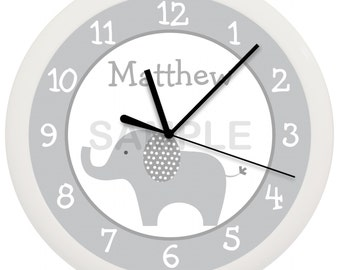 Mod Gray Elephant Personalized Nursery Wall Clock
