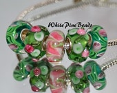Green and Pink Murano Glass Lampwork Beads  5 PC Set    fits European  Charm Bracelets WhitePineBeads