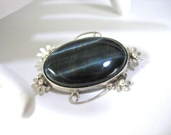 Vintage Sterling Tiger Eye Brooch, Black Tiger's Eye, Hawk's Eye, Quartz Gemstone, Floral Frame, Sterling Pin, Gift Idea, Excellent
