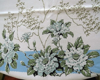 Vintage Apple Blossoms Tablecloth White Flowers with Blue Border Collectible Vintage Table Linens Mothers Day Shabby Cottage Chic