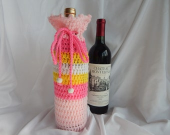 Wine Bottle Cover - Crochet Wine Cozy -  Pink and Yellow with Wood Beads