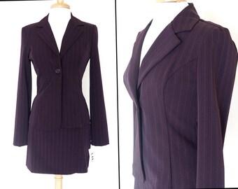 Vintage 90s Plum PinStripe Suit